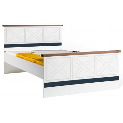 Lit 120x200 cm blanc contemporain en panneaux de particules mélaminés de haute qualité collection Deest