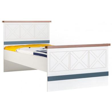 Lit 90x200 cm blanc contemporain en panneaux de particules mélaminés de haute qualité collection Deest