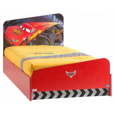 Lit voiture 90x200 cm rouge moderne collection Guimaraes