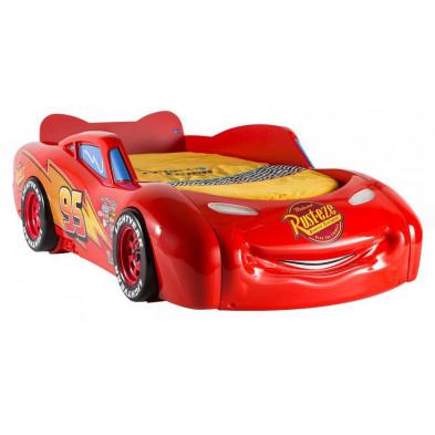 Lit voiture 90x190 cm rouge moderne en panneaux de particules mélaminés de haute qualité collection Guimaraes