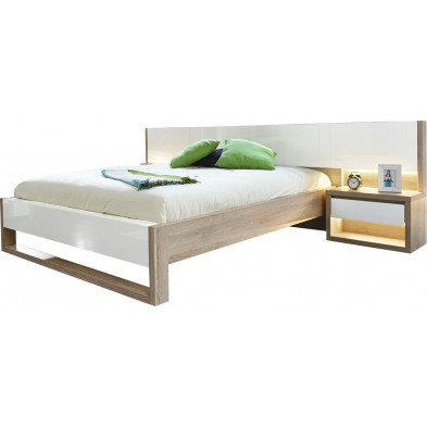 Lits blanc moderne L. 327 x P. 215 x H. 78 cm collection Youngstown