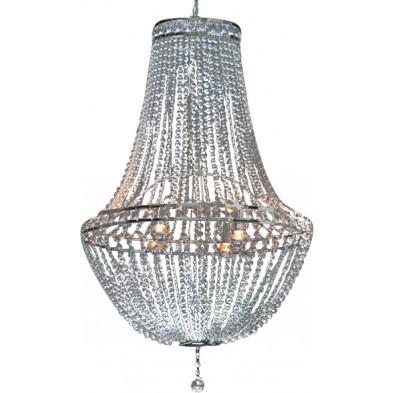 Lustre en acier chromé 110 cm avec strass transparent brillant collection Shiny