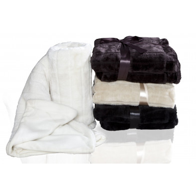 Couvre-lit 130x160 cm doux en polyester antistatique Blanc neige collection Achriesgill