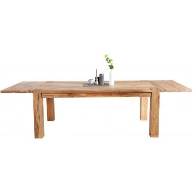 Table à manger extensible L. 200-300 x P. 100 x H. 75 cm en bois coloris naturel collection Doral