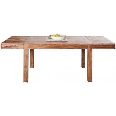 Table à manger extensible en bois coloris naturel L. 120-200 x P. 80 x H. 75 cm collection Daan