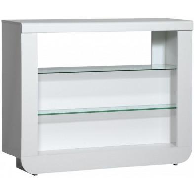 Table de bar blanc design en acier L. 125 x P. 38 x H. 100 cm collection Jessie