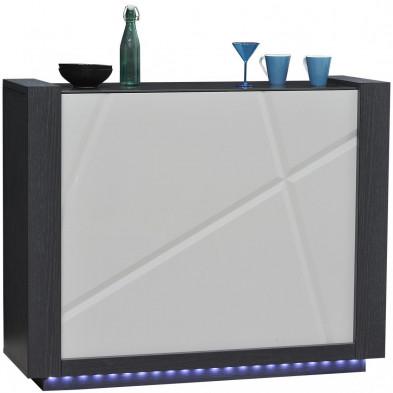 Meuble de bar ultra design bois et blanc L. 125 x P. 41 x H. 100 cm collection Loof