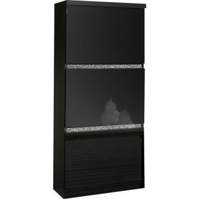 Argentier - meuble bar noir design en panneaux de particules de haute qualité L. 65 x P. 40 x H. 154 cm collection Hilma