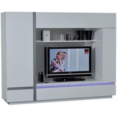 Meuble tv blanc design en panneaux de particules de haute qualité L. 220 x P. 50 x H. 170 cm collection Meulemans