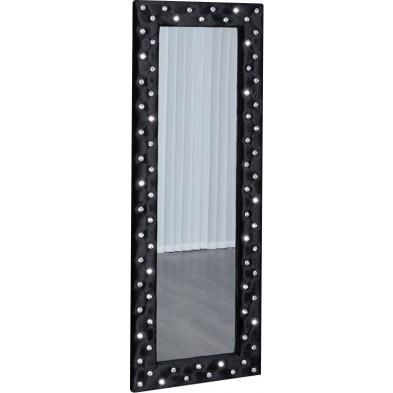 Miroir design noir en velours L. 60 x P. 5 x H. 170 cm collection Blebing