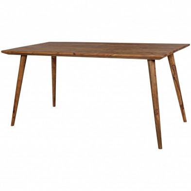 Table rustique en bois massif marron  L. 160 x P. 80 x H. 76 cm collection Seck