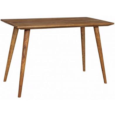 Table en bois marron rustique en bois massif L. 120 x P. 60 x H. 76 cm collection Seck