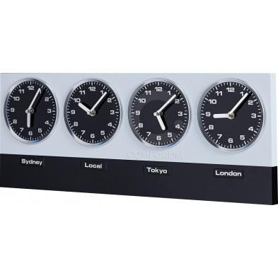 Horloge murale noir et blanc à 4 cadrans L. 60 x P. 2 x H. 25 cm collection Erika