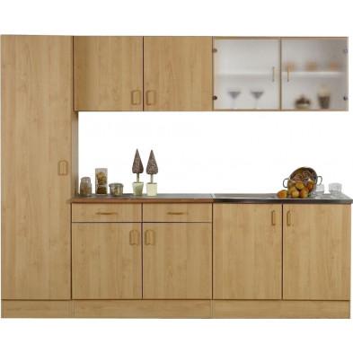 Pack  complet  de cuisine marron moderne en panneaux de particules  L. 250 x P. 50 x H. 200 cm  collection Llangain