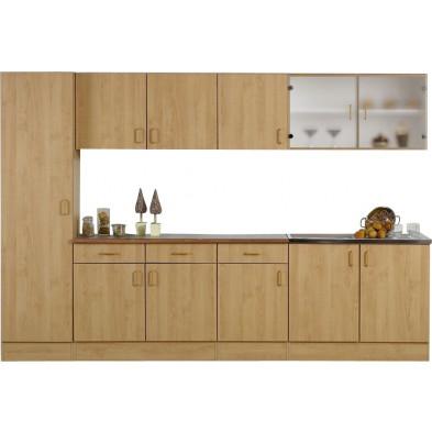Pack complet cuisine marron moderne L. 300 x P. 50 x H. 200 cm   collection Llangain
