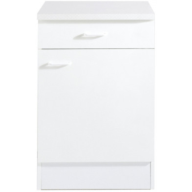 Meuble bas blanc classique en panneaux de particules de haute qualité L. 50 x P. 50 x H. 85 cm  collection Spijkstra