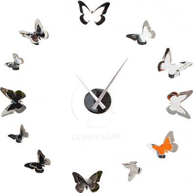 Horloge originale en acier avec envolée de papillon collection Infias