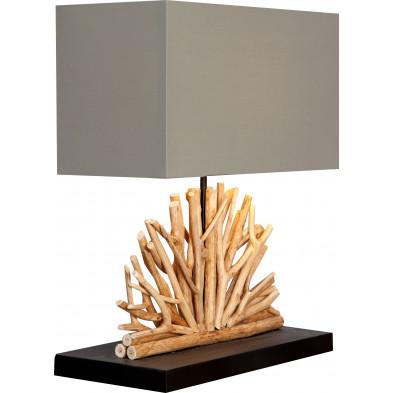 Lampe à poser 40 cm en bois flotté design coloris beige collection Koudijs