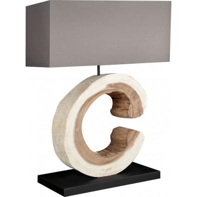 Lampe à poser bois flotté design Bûche L. 50 x P. 20 x H. 70 cm collection Devaan