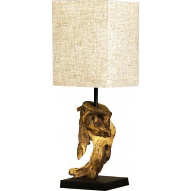 Petite Lampe à poser beige design bois flotté L. 15 x P. 15 x H. 45 cm collection Fraine