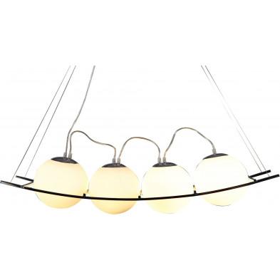 Lampe suspension à 4 boules 18 cm de diamètre en verre teinté blanc collection Pat