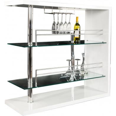 Table de bar design 120x110 cm en mdf/verre et métal coloris blanc laqué collection Hemmer