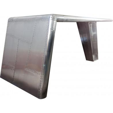 Bureau design en aluminium coloris argent L. 150 x P. 75 x H. 75 cm collection Dijon