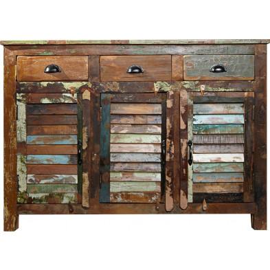 Buffet design bois massif coloré L. 125 x H. 100 cm collection Dupere