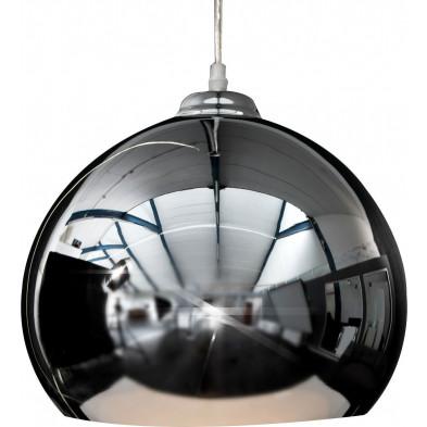 Lampe suspension design boule en acier chromé  collection Curb