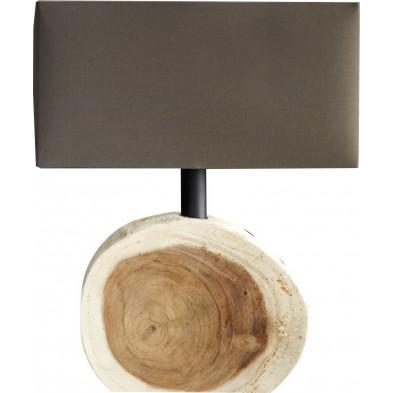 Lampe à poser 45 cm bois flotté avec socle design Bûche L. 35 x P. 15 x H. 45 cm collection Alcaucin