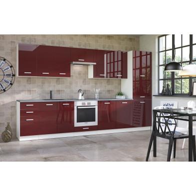 Composition cuisine équipée ultra moderne coloris blanc mat et rouge laqué collection Carlsbad