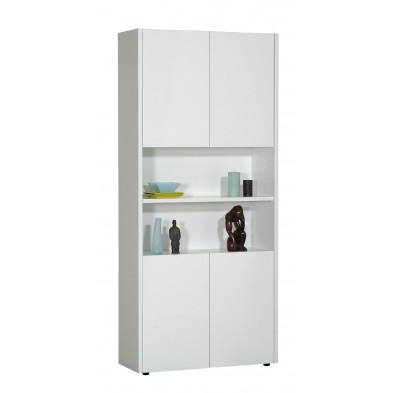 Rangement blanc design L. 90 x P. 36 x H. 203 cm collection Vandenboom