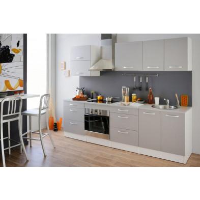 Cuisine complète moderne coloris gris et blanc en panneaux de particules de haute qualité Collection Heerde