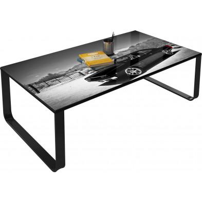 Table basse vintage gris en verre trempé sécurit L. 105 x H. 32 cm Collection Beekhuis