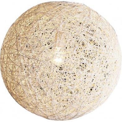 Suspension boule abaca 60 cm coloris blanc collection Hooten