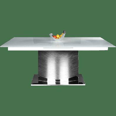 Table à manger 220 cm design extensible en verre et acier chromé collection Neal