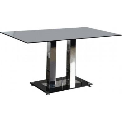 Table à manger en verre noir et acier inoxydable L. 160 x P. 90 x H. 75 cm collection Whitebrook