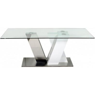 Table extensible blanc design en bois massif L. 200 x P. 100 x H. 75 cm collection Giddy