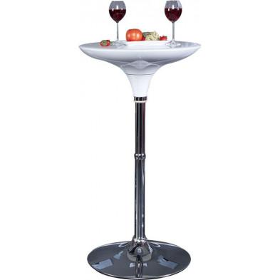 Table bar ronde design blanc laqué 60 cm de diamètre avec piétement en métal chromé collection Rogelio