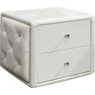 Chevet - table de nuit blanc design en bois mdf L. 40 x P. 47 x H. 43 cm Collection Velho