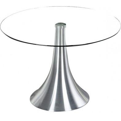 Table ronde 70 cm en verre et métal chromé design collection Evansburg