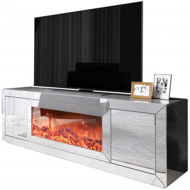 Meuble tv design avec cheminée artificiel integré en miroir clair livré monté 200 cm de largeur collection FIBRAMU