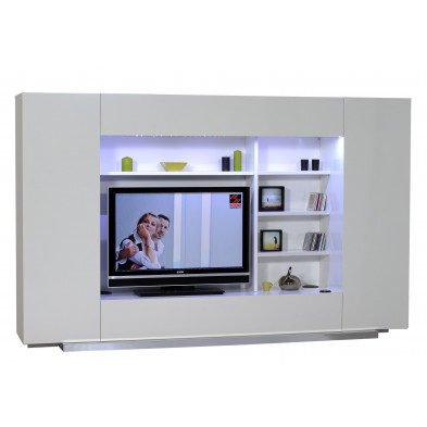 Ensemble meuble tv blanc design en L. 270 x P. 55 x H. 169 cm collection Giddy