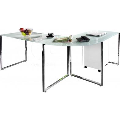 Bureau d'angle 180x160 cm design en verre trempé et métal chromé  collection