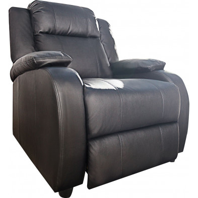 Fauteuil relax moderne en pvc coloris noir L. 90 x P. 90-160 x H. 77-106 cm collection Neo