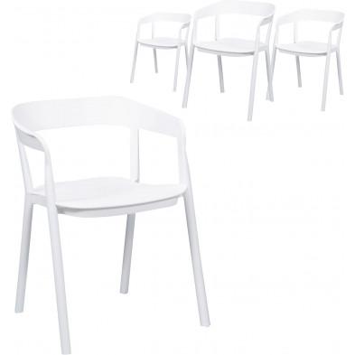 Lot de 4 Chaises de salle à manger Blanc Design en Polyuréthane L. 53 x P. 57 x H. 75 cm  collection Tense