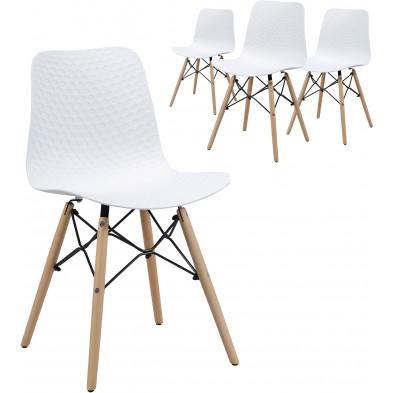 Lot de 4 Chaise  Blanc Scandinave L. 44 x P. 52 x H. 79  cm en bois massif  collection Gitta