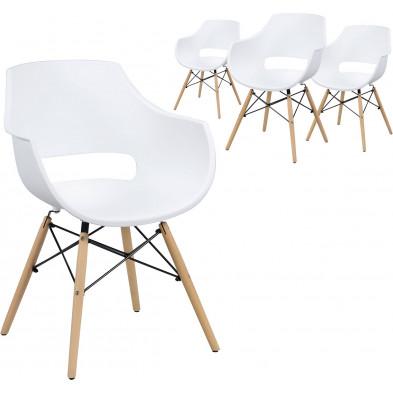 Lot de 4 Chaises de salle à manger moderne Blanc Scandinave  L. 57 x P. 62 x H. 81 cm  collection Katerberg