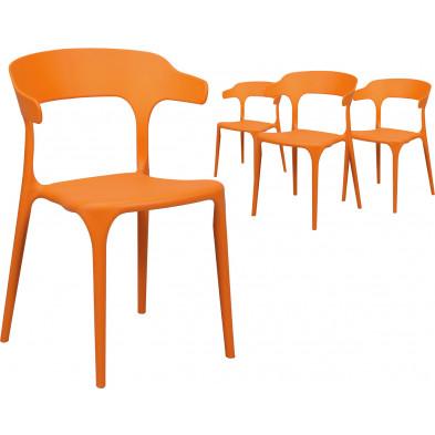 Lot de 4 Chaises de salle à manger Orange Design en Polyuréthane L. 52 x P. 52,5 x H. 77 cm collection Merlyn