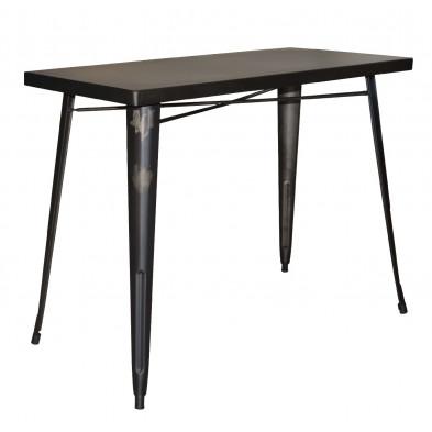 Table de bar argenté industriel en acier inoxydable L. 120 x P. 60 x H. 92 cm collection Siadariarach